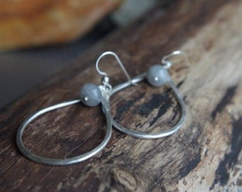 Large teardrop hoops - Hand forged Fine Silver dangles with labradorite - Teardrop hoops - Labradorite
