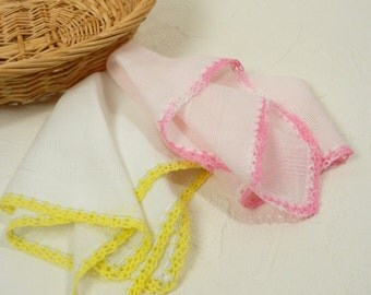 Two Vintage Cotton Handkerchiefs with Hand Crocheted Lace Edge Pink and Yellow