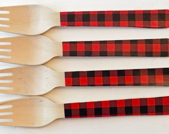 Red and Black Buffalo Plaid Wooden Forks, Spoons or Knives - Set of 20