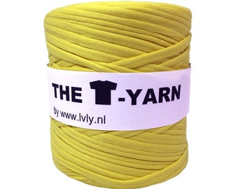 The t-shirt yarn 120-135 yards, 100% recycled cotton tricot yarn, yellow