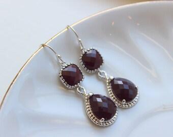 Silver Burgundy Maroon Wine Earrings - Silver Deep Red Jewelry - Bridesmaid Jewelry - Wedding Earrings - Wedding Jewelry - Maroon Jewelry