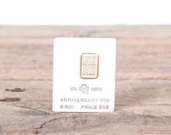"""Scout Pin / 1972 Girl Scout Anniversary Pin 6-600 / 1912-1972 60th Anniversary 1/2"""" Collectible Pin / Old Scout Pin / Vintage Scout Pin"""