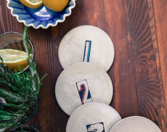 Concrete Coasters: Number Series, Gifts under 40, Housewarming Gift, Functional Art, Wedding Gift