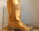 Sz 10.5 Vintage Tall Light Brown Boots MEN