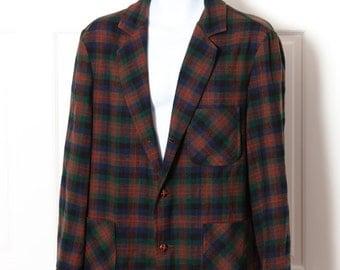 Vintage Men's Plaid Wool Blazer - PENDLETON - L