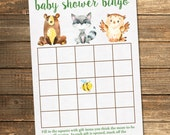 Woodland Baby Shower Bingo / Rustic Woodland Friends / Neutral Baby Shower Invitations / PRINTABLE FILE