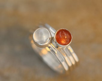Sun and Moon Ring Set - Sunstone and Moonstone Ring Set - Skinny Stacking Ring Set - Round Stacking Rings