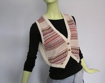 1970s Vintage Knit Cropped Vest in Nordic Print Medium