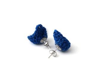 Earrings - Vegan Earrings - Vegan Jewelry - Earrings Studs - Crochet Earrings - Boho Jewelry - Stainless Steel Earrings - Blue Earrings