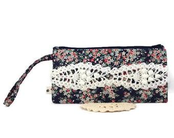 ON SALE - Clutch - Wristlet - Clutch Purse - Envelope Clutch - Floral Clutch - Fabric Handbag - Vegan Handbag - Navy Clutch - Crochet Clutch