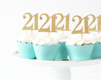 21st Birthday Cupcake Toppers Gold Glitter Twenty First Cake Topper Age Number Cupcake Topper Girls Birthday Party Supplies Turquoise Blue