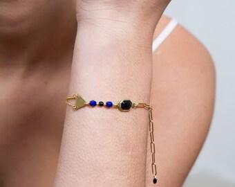 geometric bracelet, triangle bracelet, black and blue bracelet, triangle jewelry, chain bracelet, contemporary bracelet