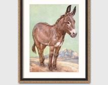 "Donkey Art Print w/Mat (Southwestern Decor, Gift for Her) Matted Farm Animals Print --- ""Loyal Friend"""