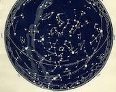 1943 star maps Northern Astronomy JUNE JULY MAP 9 star atlas original vintage zodiac chart map stars constellation star stargazing