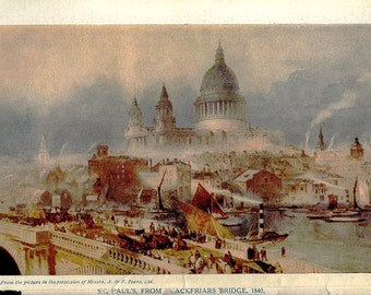 vintage 1840 LONDON print of St Paul's Cathedral Blackfriars Bridge mid century illustration