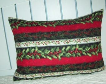 Christmas Pillow Red Black White Stripes with Pine Cones Berries Evergreens