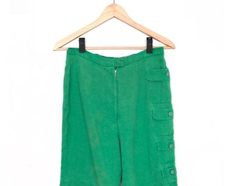 Vintage High-waisted Laeta Ramage Shorts in Irish Linen Sz. UK 14 / US 4-6  1940s, 50s, early 60s Emerald Green