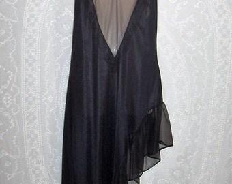 Size Medium  - Vintage Nightgown - by Movie Star - Asymmetrical Hem - Nightie - Spaghetti Straps - Black - Backless -  made in USA