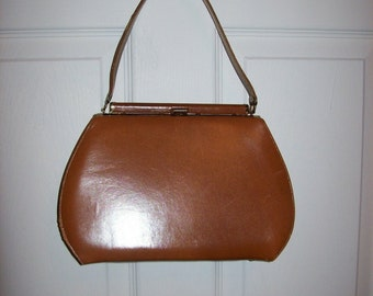 Vintage 1950s 60s Ladies Brown Leather Handbag by Mar-Shel Only 10 USD