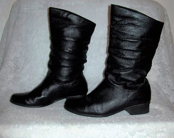 Vintage Ladies Black Leather Slouch Pirate Boots by Fanfares size 6 1/2 Only 14 USD