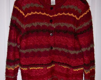 99 CENT SAlE Vintage Ladies Striped Cardigan Sweater by Christopher Banks Small Now .99 USD