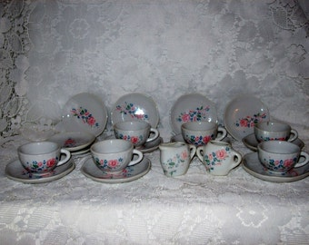Vintage Childs Porcelain Tea Set by Honghua Crafts 20 Pieces Only 12 USD