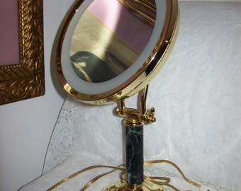 Vintage Brass & Marble Vanity Dressing Table Light Up Swivel Makeup Mirror Hollywood Regency Only 48 USD