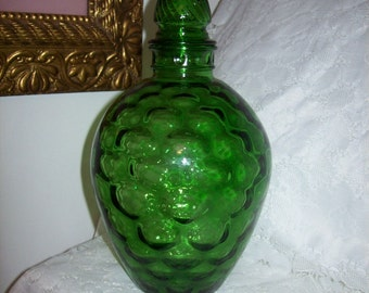 Vintage Green Wheatonware Glass Samovar Genie Decanter Jar Honeycomb Optic Eyes Pattern Only 20 USD