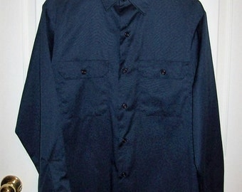 "Vintage Men's Navy Blue Work Shirt by Big Mac Medium 15 - 15 1/2"" Neck Only 8 USD"