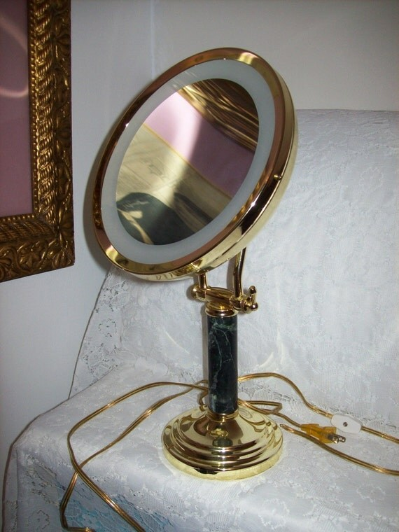 Vintage Vanity Mirror With Lights : Vintage Brass & Marble Vanity Dressing Table Light Up Swivel
