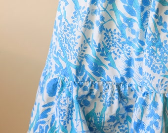 Blue and White Floral Ruffle Lace Skirt