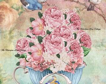 Tea Cup Full of Roses Bluebirds Fabric Block - Art Print