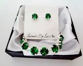 Emerald crystal jewelry set - Swarovski crystals - Emerald jewelry set, Brides jewelry set, May Birthday gift, Irish jewelry, SOPHIA