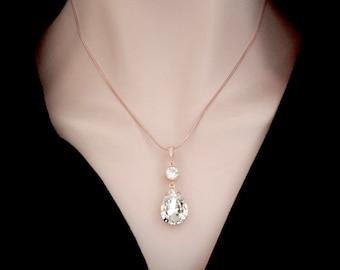 Rose gold necklace ~ Swarovski crystal, Rose gold crystal necklace ~ Wedding necklace, Bridesmaid necklace ~ Bridal necklace ~ SOPHIA