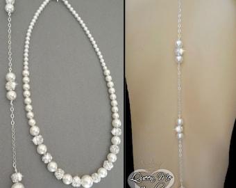 Pearl necklace ~ Back drop ~ Brides necklace ~ Backdrop pearl necklace ~ Wedding necklace ~ Swarovski pearls and crystals fireballs ~DESTINY