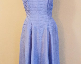 Vintage 1940s 50s Pleated Lilac Semi-Sheer Day Dress S