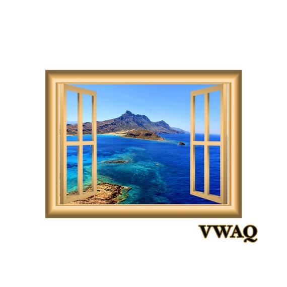 Ocean Mountain Side Landscape Window Frame Vinyl Wall Art Peel