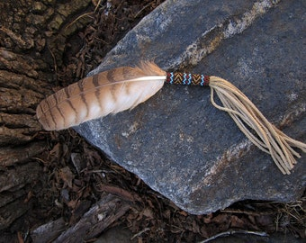 Peyote Stitch Smudge Feather - Hand Painted Owl Feather - Hand Made in USA - Seed Beaded Feather