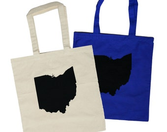 Ohio State Silhouette Totes (on Natural Canvas or Cotton Totes)