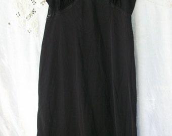 Black Sheer / Solid Full Slip ~ Adjustable Straps ~ Ruffled Hem ~ Chic Vintage ~ Lace trim