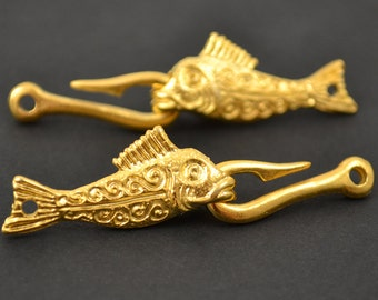 Fish and Hook Clasp - 24 Karat Gold - QTY: 1 or 2