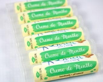Creme de Menthe Lip Balm . Natural Lip Balm . Mint . Vanilla . Lip Butter