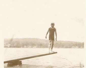 Vintage Snapshot - Makeshift Diving Board - Found Vernacular Photo - Dock Pier - Water Reflection - Boy Diver - Paper Ephemera