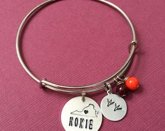 Hokie Love - Blacksburg, Virgina Heart Virginia Tech VT Charm - Virginia Tech Hokie Bangle - VPI Bangle - Virginia Tech Love Bracelet