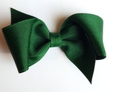 forest green hair bow- hunter green 3.5 inch clips for girls--back to school uniform sale--christmas accessories