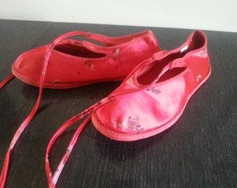 Shiny Chinese ballerina slippers size 8