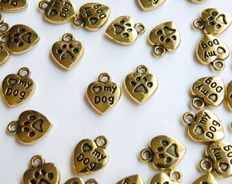 20 Love My Dog charms with heart antique gold 13x10mm PA123278-AG