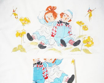 Pair Raggedy Ann and Andy pillowcases 1960's cottage shabby sweet vintage nursery linens child,s room 1968 fairies