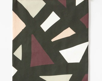 Graphic Modern Tapestry, Textile Wall Hanging, Patterned Fabric Wall Decor, Blush and Blumb
