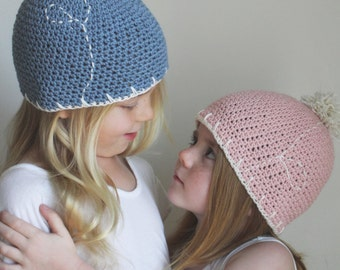 Crochet Pattern: The Serena Beanie-Newborn, Baby, Toddler, Child, Adult sizes spring cotton linen dandelion pom-pom pink blue nature